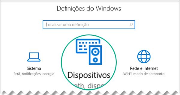 Selecionar Dispositivos na caixa de diálogo Definições do Windows