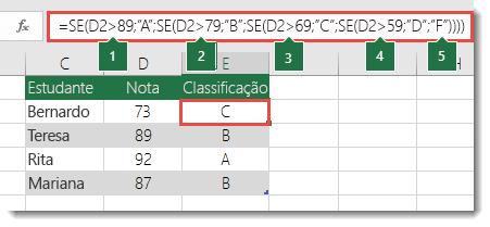 """Instrução SE complexa e aninhada – A fórmula em E2 é =SE(B2>97;""""Excelente"""";SE(B2>93;""""Muito Bom"""";SE(B2>89;""""Muito Bom Menos"""";SE(B2>87;""""Bom Mais"""";SE(B2>83;""""Bom"""";SE(B2>79;""""Bom Menos""""; SE(B2>77;""""Satisfaz Mais"""";SE(B2>73;""""Satisfaz Mais"""";SE(B2>69;""""Satisfaz"""";SE(B2>57;""""Satisfaz"""";SE(B2>53;""""Satisfaz Menos"""";SE(B2>49;""""Não Satisfaz"""";""""Não Satisfaz""""))))))))))))"""