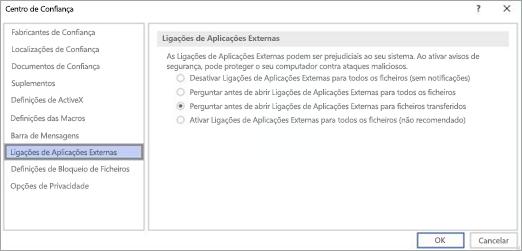 Selecione a opção que gostaria de utilizar no Visio para ligações de aplicações externas.