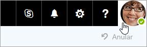 Captura de ecrã de uma imagem de conta na barra de menus do Office 365.