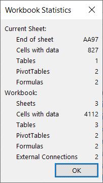 O diálogo de estatísticas do livro.