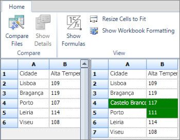Resultados da comparação de dados do Access exportados