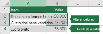 Cenário - configuração de um cenário com células de variáveis e resultado