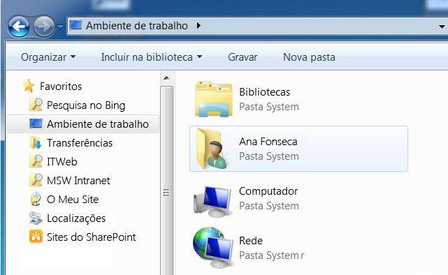Pasta Ambiente de Trabalho no Windows 7