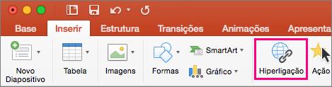 Apresenta o separador Inserir no PowerPoint 2016 para Mac