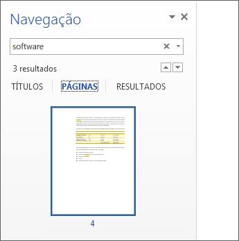 As páginas filtradas para mostrar os resultados da procura
