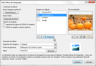 Remover uma imagem de um álbum de fotografias