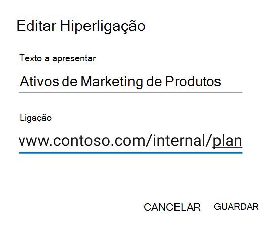 Outlook para Android, caixa de diálogo Editar Ligação.