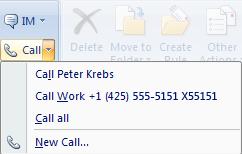 Responder a uma mensagem de correio eletrónico, utilizando o Lync 2010 para efetuar uma chamada no Outlook 2007