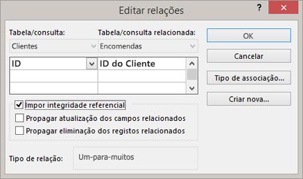 Editar uma relação existente entre tabelas