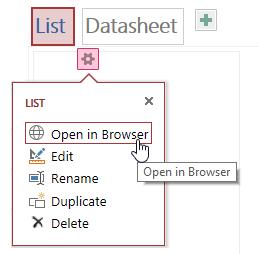 Popup menu displaying Open in Browser, Edit, Rename, Duplicate, and Delete