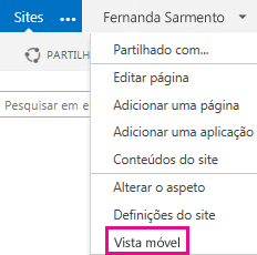 Menu Definições num site do SharePoint na vista de PC