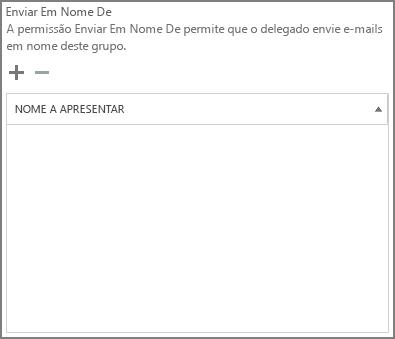 Captura de ecrã: selecione o sinal de adição para adicionar os utilizadores que pretende enviar como o grupo do Office 365