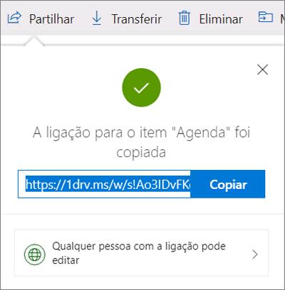 Confirmação de Copiar Ligação ao partilhar ficheiros através de uma ligação no OneDrive