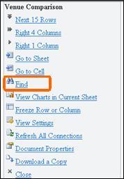 Menu no Mobile Viewer para Excel