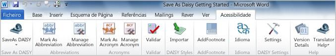 Separador de friso Acessibilidade do suplemento Save as DAISY
