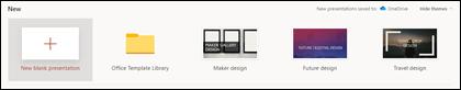 A secção de apresentação nova do ecrã de boas-vindas powerPoint.