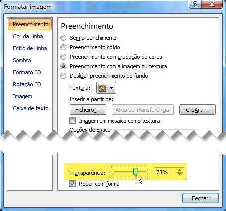 Deslize a barra Transparência para a direita para ajustar a imagem de fundo