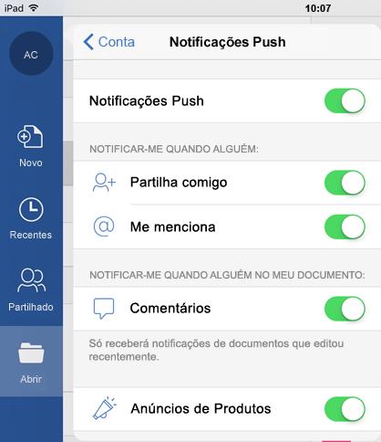 Toque no botão de perfil para configurar notificações push para documentos partilhados