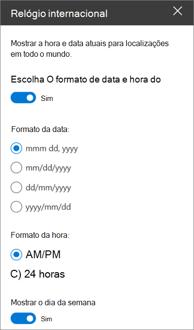 A caixa de ferramentas da Web site do World Clock para sites do SharePoint a mostrar como personalizar a formatação de data e hora