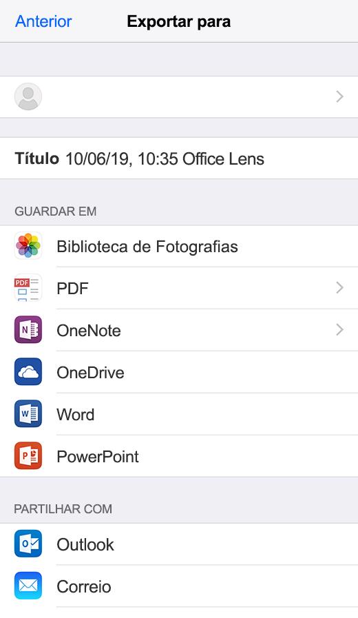 Opções de exportação no Office Lens para iOS