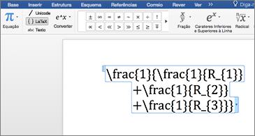 Documento do Word que inclui uma equação LaTex