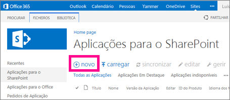 A ligação da nova aplicação na biblioteca Aplicações para o SharePoint no Catálogo de Aplicações