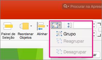Apresenta o ícone Grupo no friso no PowerPoint 2016 para Mac