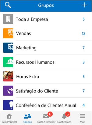 Captura de ecrã de grupos na aplicação móvel do Yammer