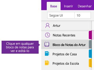 Captura de ecrã a mostrar a lista de Blocos de Notas no OneNote