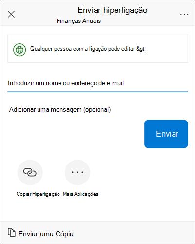 Captura de ecrã da caixa de diálogo partilha do iOS.