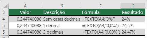 Códigos de formatação para percentagem