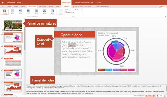 Vista no PowerPoint Online de edição