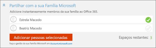 """Captura de ecrã a mostrar um grande plano da secção """"Partilhar com a sua Família Microsoft"""" da caixa de diálogo """"Adicionar alguém"""" com o botão """"Adicionar pessoas selecionadas""""."""
