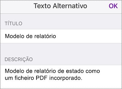 Adicionar texto alternativo a um ficheiro incorporado no OneNote para iOS