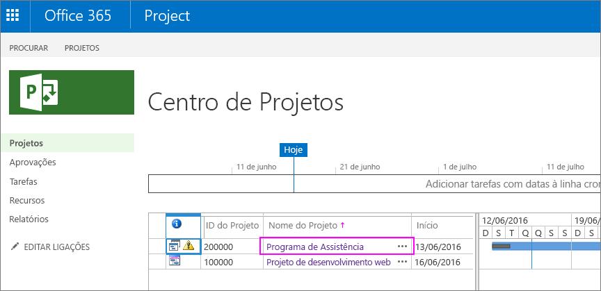 No centro de projetos, selecione o nome do projeto.