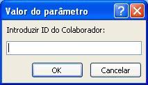 """Mostra um exemplo de uma caixa de diálogo valor do parâmetro esperado, com um identificador denominado """"Introduza o ID do empregado"""", um campo no qual pretende introduzir um valor e botões OK e cancelar."""