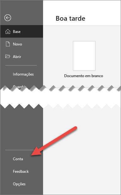 O separador ficheiro no Office com uma seta a apontar para a opção Conta
