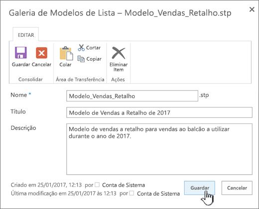 Editar as propriedades de um modelo de lista