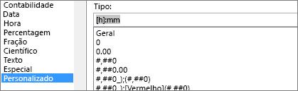 Diálogo de células de formato, comando personalizado, [h]:mm tipo