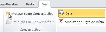 Caixa de verificação Mostrar como Conversações no friso