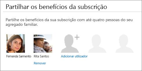 """Captura de ecrã a mostrar a secção """"Partilhe os benefícios da sua subscrição"""" da página Partilhar o Office 365, que mostra a ligação """"Remover"""" por baixo da imagem de um utilizador."""
