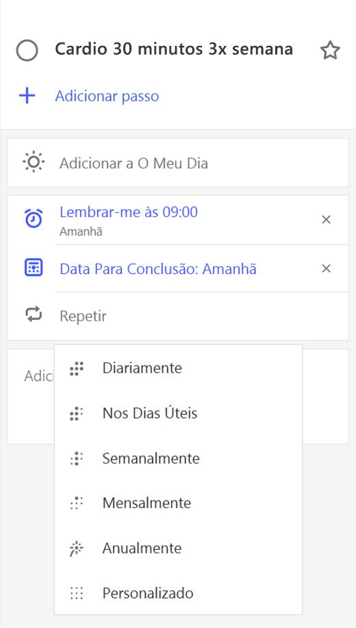 Captura de ecrã a mostrar a vista de detalhes com a opção Repetir selecionada