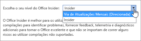 Escolha o seu nível do Office Insider