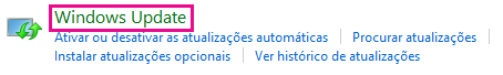 Ligação Windows Update no Painel de Controlo do Windows 8