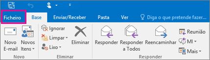Este é o aspeto do friso no Outlook 2016