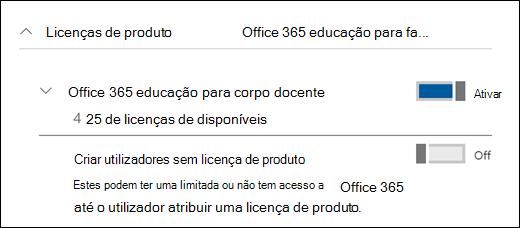 Captura de ecrã da ação de adicionar um utilizador no Office 365, a mostrar a secção licença de produto expandida.