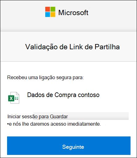 Verificação do Link de partilha externa OneDrive para iniciar sação.