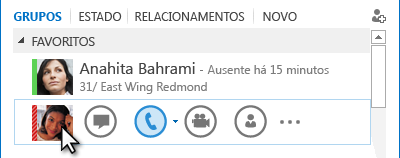 Captura de ecrã do Menu rápido do Lync com o ícone de telefone realçado