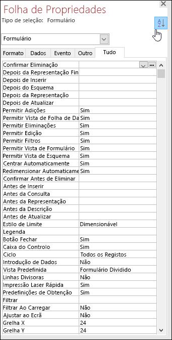 Captura de tela da folha de propriedades do Access com propriedades ordenadas por ordem alfabética
